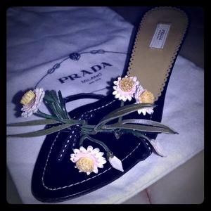 Prada EU 36 size 6 Leather flower Floral heel bag